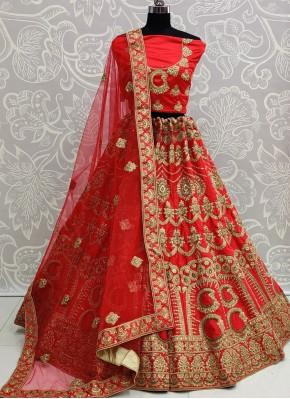 A Line Lehenga Choli Patch Border Silk in Red
