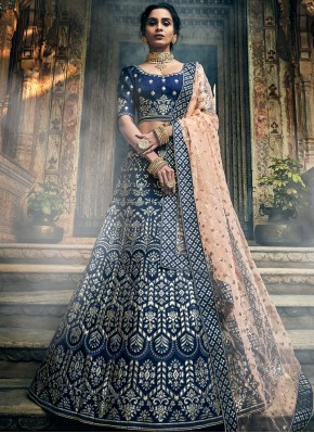 A Line Lehenga Choli Thread Art Silk in Blue