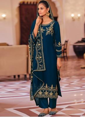 Aari Georgette Trendy Salwar Kameez in Navy Blue
