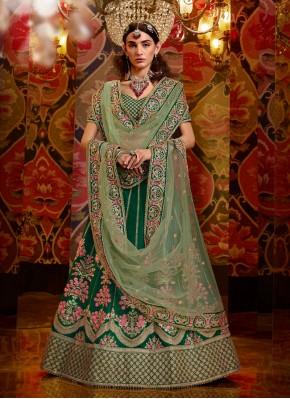 Aari Work Net A - Line Lehengha choli in Green