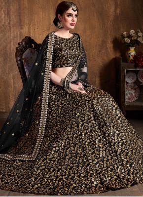 Absorbing Black Lace Raw Silk Lehenga Choli