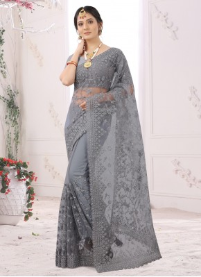 Absorbing Embroidered Designer Saree