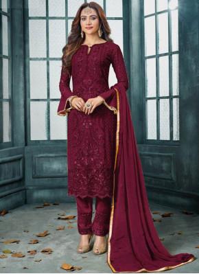 Absorbing Faux Georgette Maroon Embroidered Designer Salwar Kameez