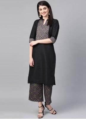 Absorbing Print Black Poly Silk Designer Kurti
