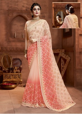 Absorbing Resham Net Cream and Peach Designer Saree