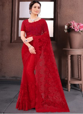 Absorbing Resham Net Red Traditional Saree