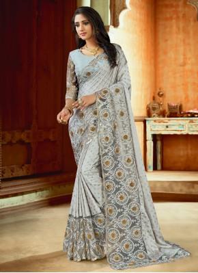 Absorbing Satin Reception Trendy Saree