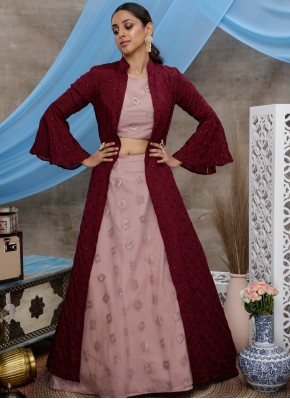 Absorbing Sequins Pink Net A Line Lehenga Choli