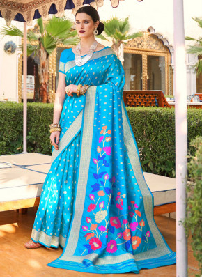 Absorbing Weaving Aqua Blue Classic Saree