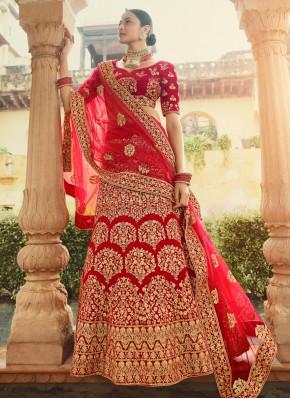 Absorbing Zari Velvet Red Designer Lehenga Choli