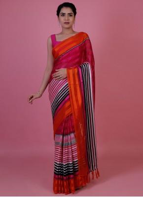 Abstract Print Chiffon Satin Classic Saree in Multi Colour