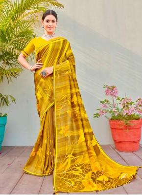 Abstract Print Cotton Silk Printed Saree in Multi Colour