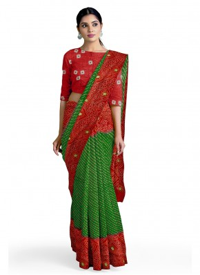 Abstract Print Faux Georgette Casual Saree in Green and Red