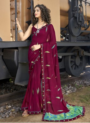 Abstract Print Faux Georgette Casual Saree in Wine