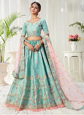 Adorable Aqua Blue Embroidered Silk Lehenga Choli