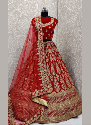 Adorable Embroidered Velvet Red A Line Lehenga Choli