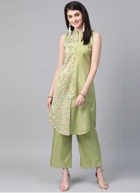 Adorable Green Print Party Wear Kurti
