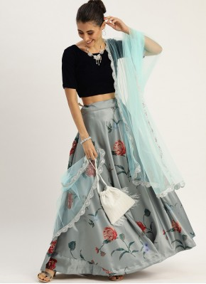 Adorable Print Grey Silk Lehenga Choli
