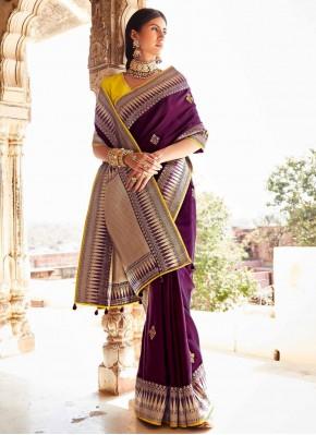 Adorable Purple Weaving Traditional Designer Saree