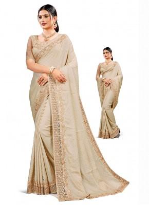 Adorable Satin Silk Resham Beige Traditional Saree