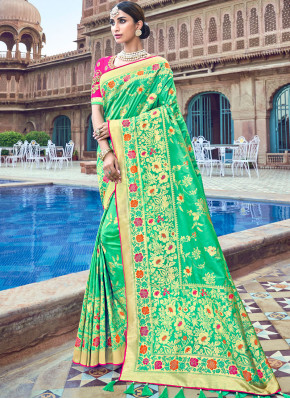 Adorable Silk Embroidered Sea Green Trendy Saree