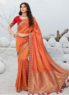 Adorable Silk Orange Embroidered Designer Saree