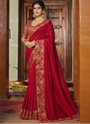 Adorable Weaving Art Silk Red Classic Designer Saree