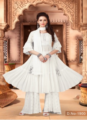 Adorable White Embroidered Chiffon Indo Western Style Suit