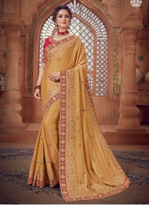Adorable Yellow Border Traditional Saree