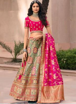 Adorable Zari Banarasi Silk Green and Pink Lehenga Choli
