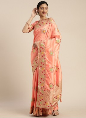 Adorning Embroidered Silk Peach Traditional Designer Saree