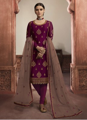Adorning Georgette Satin Purple Embroidered Churidar Salwar Suit
