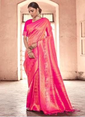Adorning Pink Designer Traditional Saree