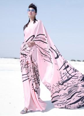 Aesthetic Crepe Silk Multi Colour Printed Trendy Saree