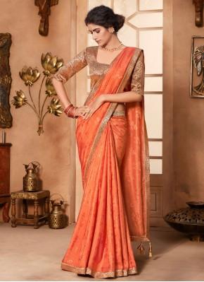Aesthetic Lace Orange Classic Designer Saree