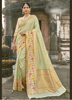 Aesthetic Sea Green Engagement Designer Traditional Saree