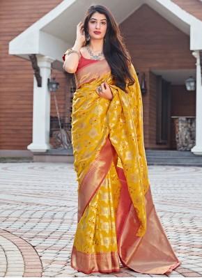 Affectionate Art Silk Woven Mustard Designer Traditional Saree