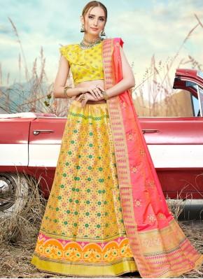 Affectionate Banarasi Silk Embroidered Trendy A Line Lehenga Choli