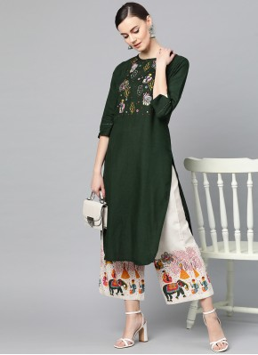 Affectionate Embroidered Green Cotton Party Wear Kurti