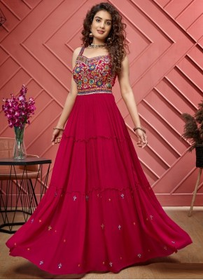 Affectionate Hand Embroidery Designer Floor Length Suit