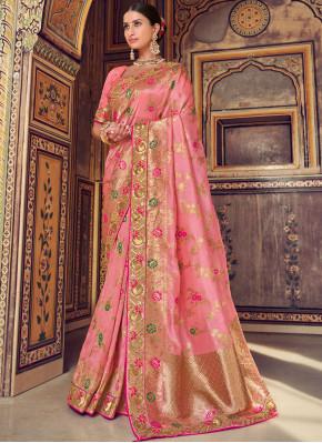 Affectionate Pink Designer Traditional Saree