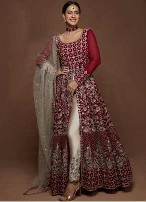 Alluring Maroon and Off White Embroidered Floor Length Anarkali Suit