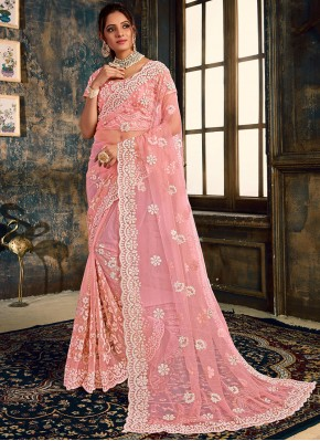 Alluring Net Resham Pink Designer Saree