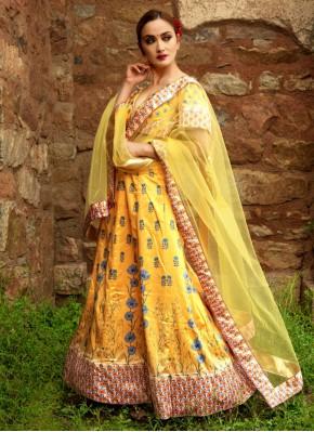 Alluring Satin Yellow Digital Print Designer Lehenga Choli