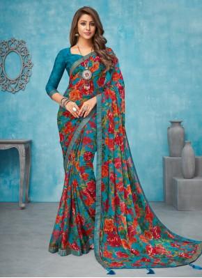 Amazing Faux Chiffon Multi Colour Traditional Saree