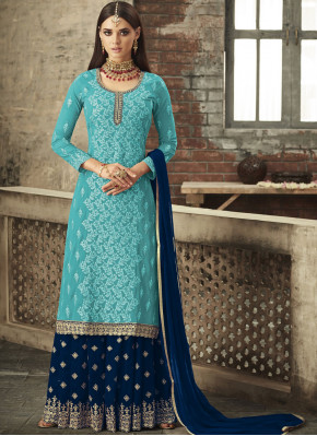 Amazing Faux Georgette Embroidered Trendy Palazzo Salwar Kameez