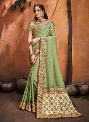 Amazing Green Diamond Satin Classic Saree