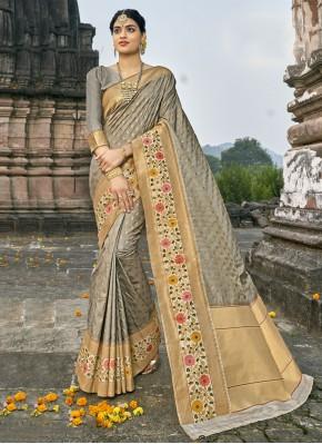 Amazing Grey Banarasi Silk Traditional Designer Saree