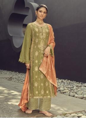 Amazing Jacquard Silk Embroidered Green Designer Palazzo Salwar Kameez