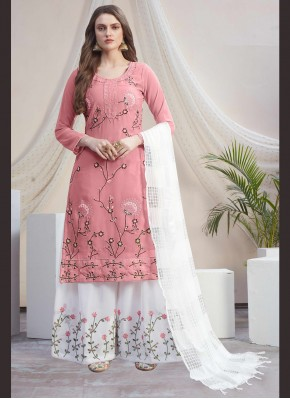 Amazing Off White and Pink Embroidered Faux Georgette Designer Palazzo Suit